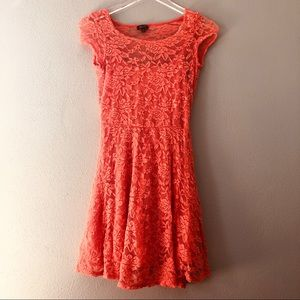 🌸 Lily Rose | coral all over lace dress